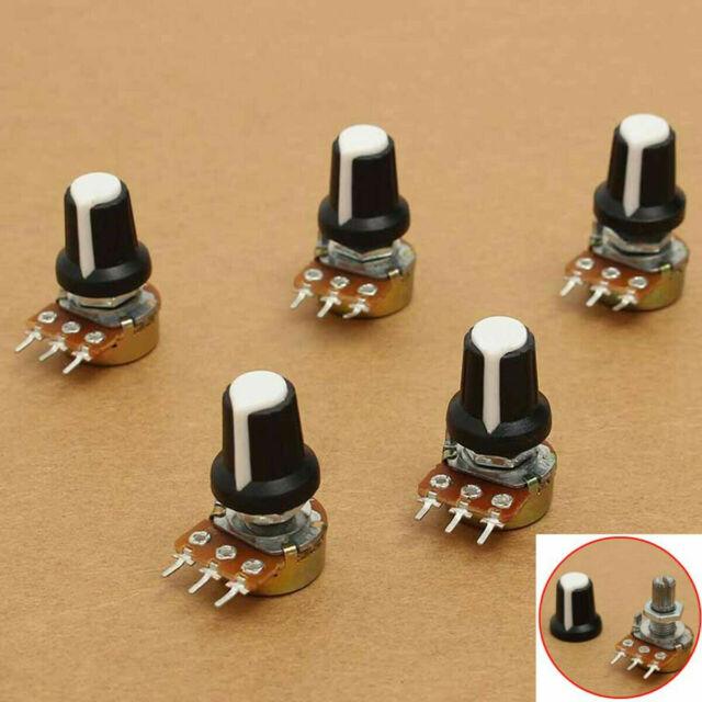 5Pc//Set 10K OHM Terminal Linear Taper Rotary 15mm Resistor Potentiometer/&Knobs