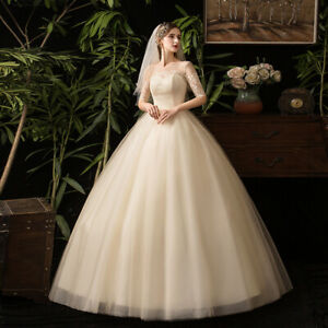Details about Simple Half Sleeve Round Neck Floor Length Ball Gown Plus  Size Wedding Dress