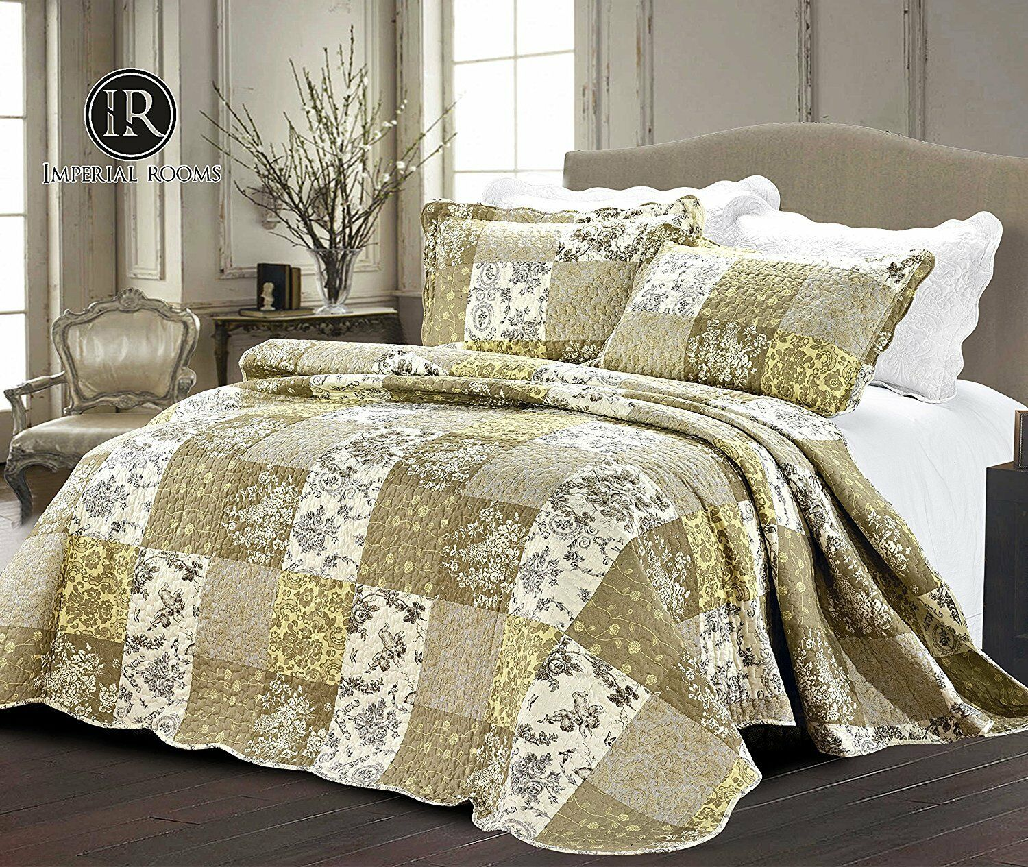 Embroidered Patchwork Quilted Bedspread Comforter With Pillow Shams King Size