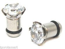 """8mm 5/16"""" Steel Flesh Tunnel with CZ Crystal Gem Ear Plug Stretcher O Ring 0g"""