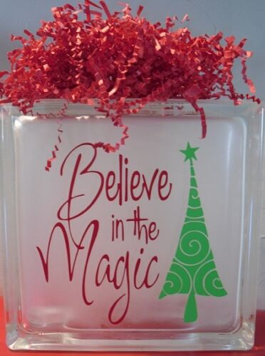 """Believe in the Magic Christmas Decal Sticker for 8/"""" Glass Block DIY Crafts"""