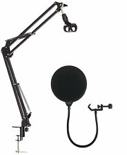 Dragonpad USA Microphone Suspension Boom Scissor Arm Stand With Pop Filter