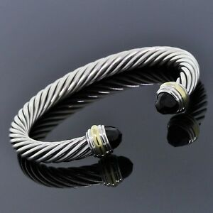 David-Yurman-Plata-Esterlina-925-14K-Oro-Negro-Onyx-7mm-Pulsera-Clasico-De-Cable