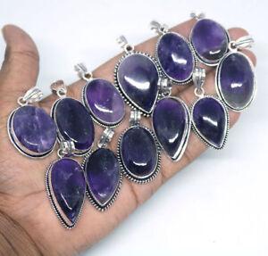 Colgante-de-piedras-preciosas-amatista-1-un-925-Chapado-en-Plata-De-Ley-Hecho-a-Mano-Colgantes