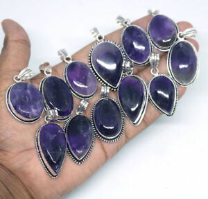 Amethyst-Gemstone-Pendant-1pcs-925-Sterling-silver-Plated-Handmade-Pendants