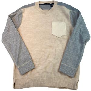 Scotch & Soda Herren Pullover große Elfenbein Wollmischung Sweatshirt Pullover