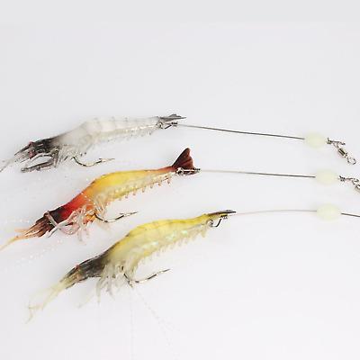 15pcs Saltwater Fishing Luminous Artificial Shrimp Lures Soft Baits Crank Bait