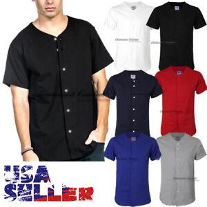 Mens-Baseball-Jersey-Raglan-Plain-T-Shirt-Team-Sport-Button-Fashion-Tee-Casual