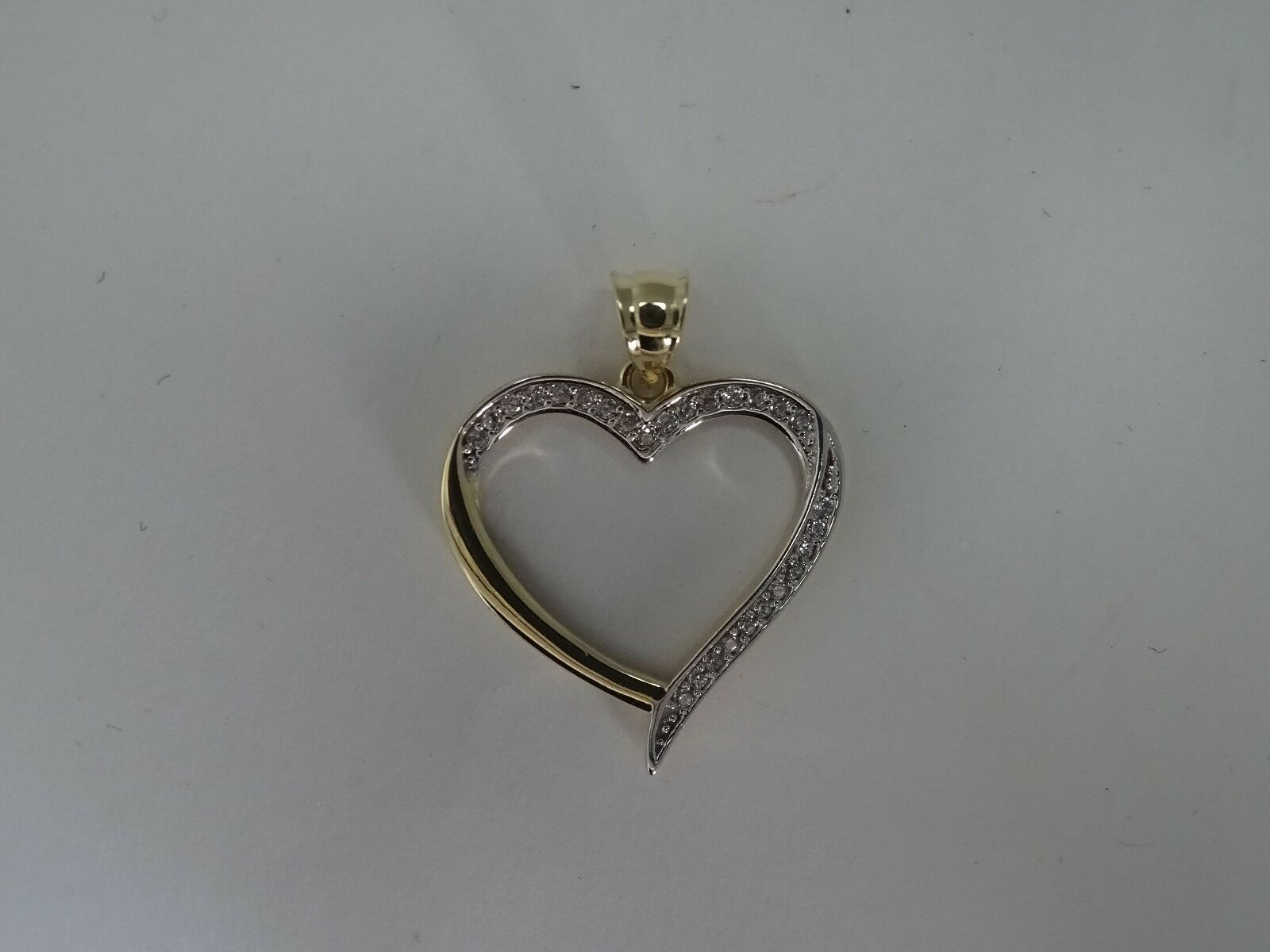 9ct Yellow and gold CZs Heart Pendant  Fully Hallmarked