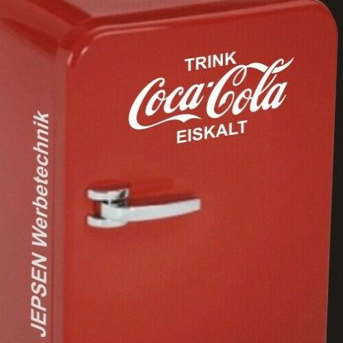 TRINK Coca Cola EISKALT Aufkleber für Mini Kühlschrank Kühltruhe 24x12cm weiß gl