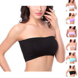 0bc3fa2e59 Women Seamless Strapless Boob Crop Tube Bandeau Bra with Removable ...
