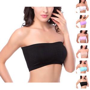 f02ffec565f Image is loading Women-Girls-Seamless-Strapless-Boob-Crop-Tube-Bandeau-