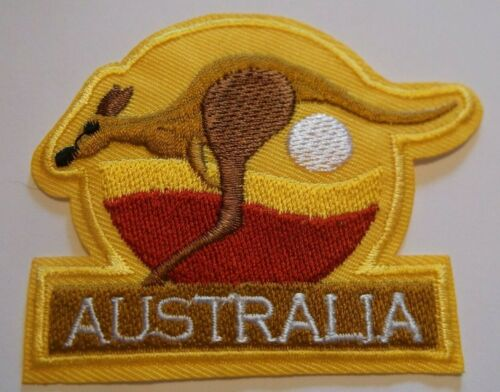 """Kangaroo Crossing Sign~Australia~Embroidered Patch~3 1//2/"""" x 2 5//8/""""~Iron Or Sew"""