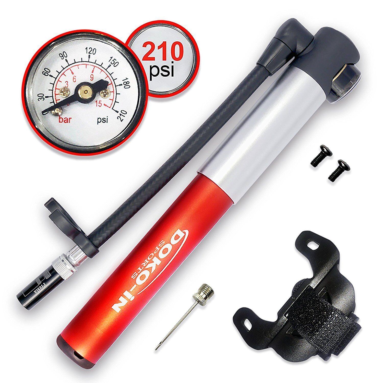 Mini Bike Tire Pump  With Gauge Frame Mount Flexible Hose Presta Schrader Adapter  online sale