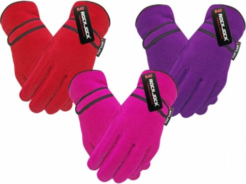 Red Purple Girls Rockjock R40 Advanced Thermal Insulated Fleece Gloves Pink