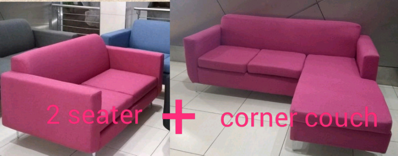 New pink fabric lounge suite