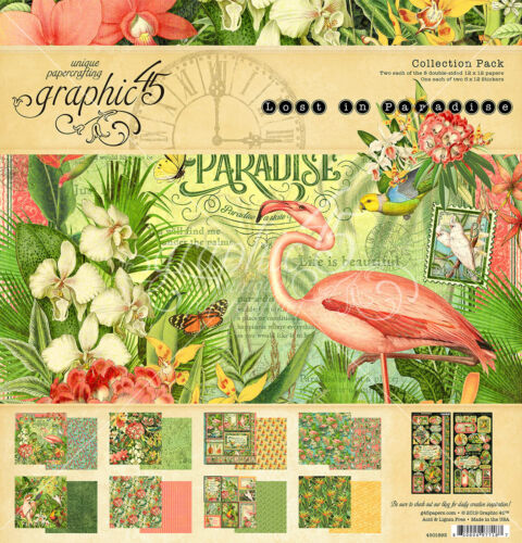 Graphique 45 Lost In Paradise Collection Pack 12 x 12 Ephemera cartes 8 x 8 NEUF