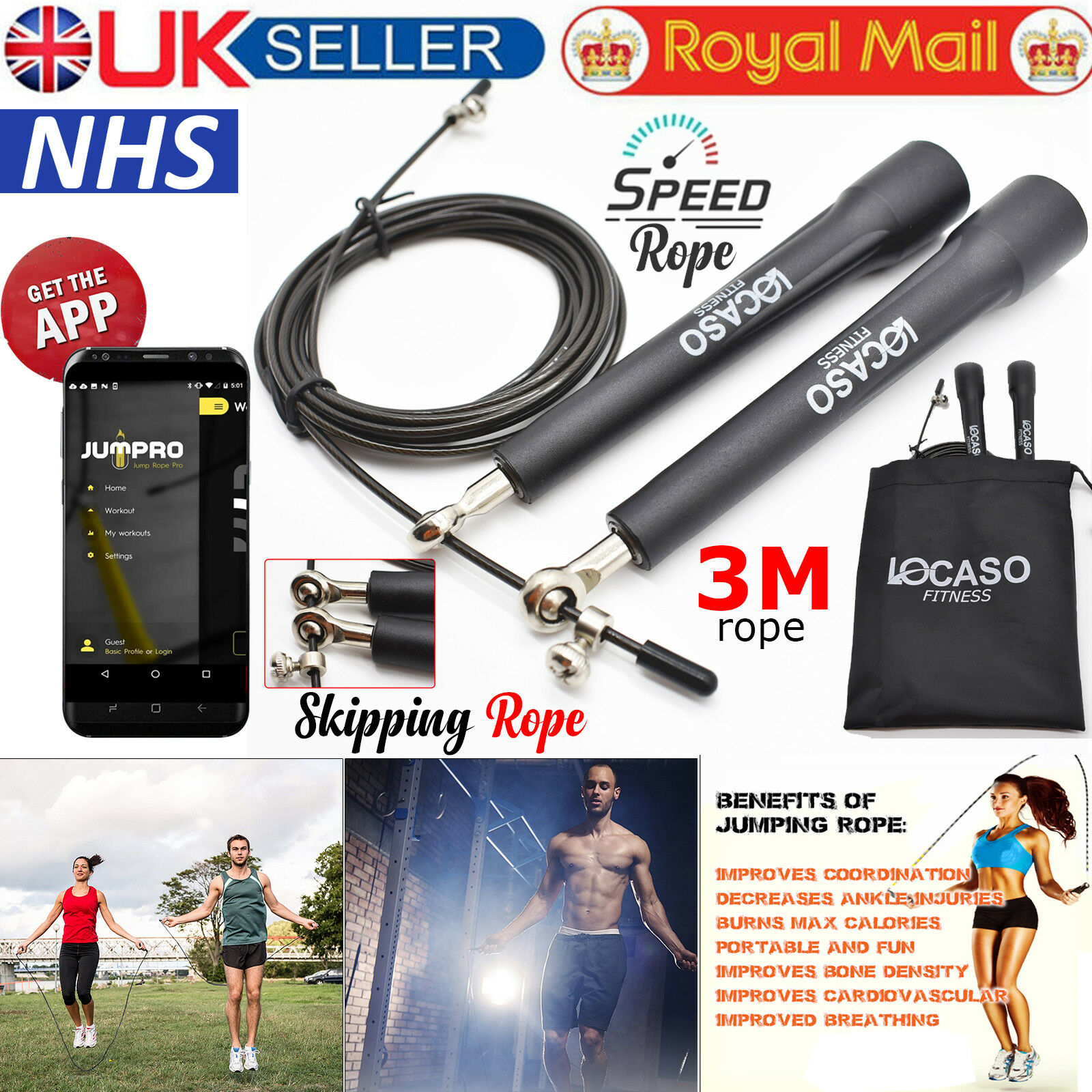 Skipping Rope 9ft Adjustable Cable Fitness Gym Training Jump Speed Jumping Ropes