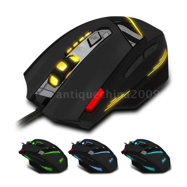 USB Wired Gamer Mouse Adjustable 7200DPI LED Optical Mice USB for Laptop PC T1G9
