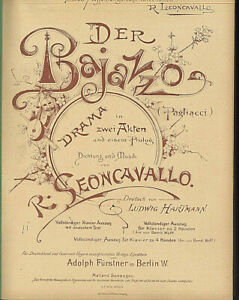 alte-Noten-Klavierauszug-der-Bajazzo-Drama-R-Leoncavallo-Fuerstner-1925-gebunden