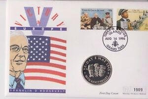 TURKS & CAICOS ISLANDS PNC COIN COVER 5 CROWNS FRANKLIN D ROOSEVELT VICTORY