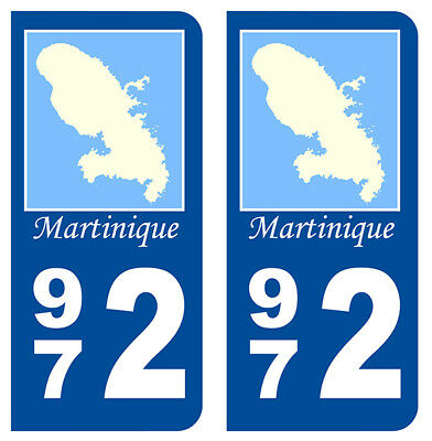Generous 2 Immatriculation 972 Martinique Departement Autocollant Sticker Grade Products According To Quality Auto, Moto – Pièces, Accessoires Badges, Insignes, Mascottes