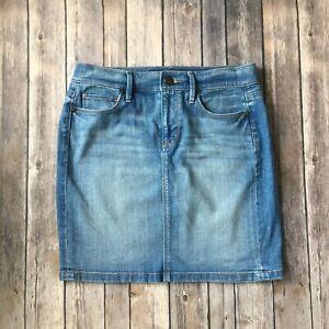 Ann-Taylor-Loft-Skirt-00-24-XXS-Denim-Jean-Cotton-Stretch-Pencil-Straight-Blue