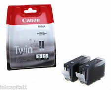 2 x Canon Original OEM PGI-5Bk Inkjet Cartridges For MP530, MP600