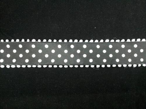 Wire Edge Ribbon 38mm Black Satin white spots pompom edge Quality New Craft