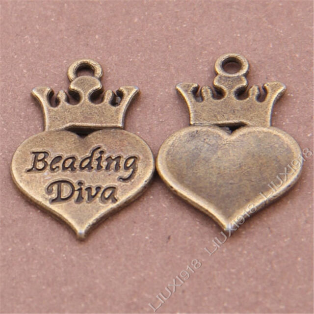 10pc Beading Diva Heart-shaped Imperial crown Pendant Charms Accessories S334T