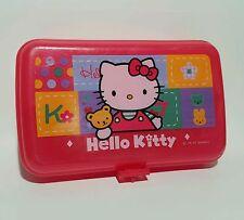 Hello Kitty 1997 Vintage School Pencil Supply Case Sanrio Plastic Box Art Kit