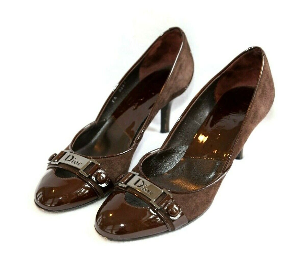 Dior Chocolate Brown Suede & Patent Leather Heels shoes 37.5