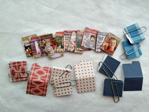 Lot of Miniature dollhouse magazines and colorful file folders 1:24 scale
