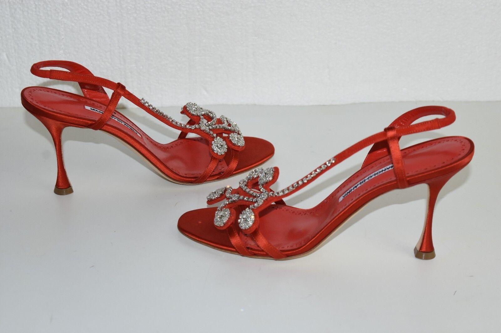 1395 New MANOLO BLAHNIK Fernusan 90 Jeweled Red Satin SANDALS Heels SHOES 40.5