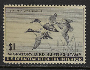 SCOTT RW12 1945 $1 DUCK STAMP ISSUE MNH OG F-VF CAT $67!