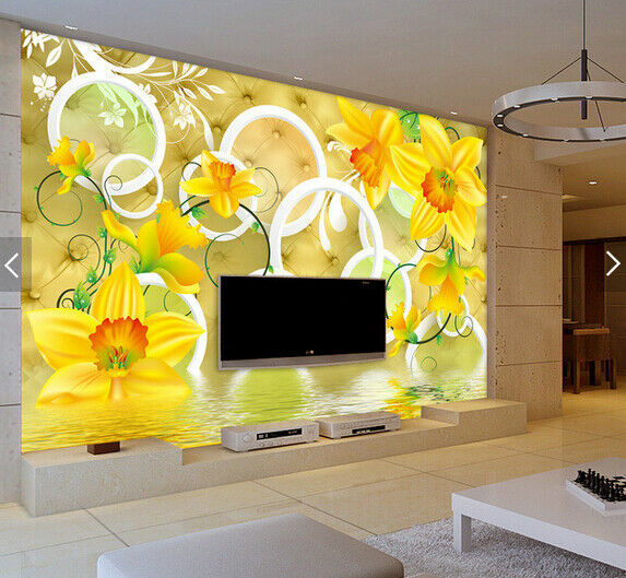 3D Petals Gelb 556 Wallpaper Murals Wall Print Wallpaper Mural AJ WALL AU Kyra