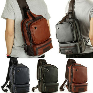 05ea969ff81f Mens Leather Shoulder Bag Chest Cycle Front Sling Backpack Satchel ...