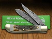 Hen & Rooster And Genuine Deer Stag Damascus 1/300 Mini Trapper Pocket Knives on Sale