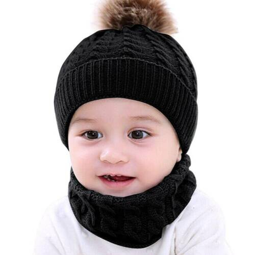 Baby Kids Girl Boy Toddler Pom Hat Winter Warm Knit Bobble Beanie Cap Scarf Set