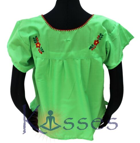 Mexican Peasant Blouse Hand Embroidered Top Colors Vintage Style Tunic LimeGreen