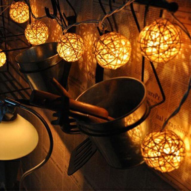 20 LED Rattan Ball LED String Fairy Lights Lantern Decor Party Wedding Warm Xmas