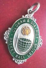 Vintage Sterling Silver & Enamel Oldham Basket Ball Fob Medal h/m 1923