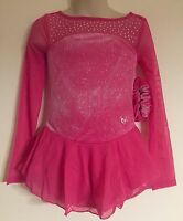 Figure Skating Competition Dress Child L 10 Ice Skate Pink Justice Bling