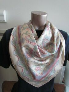 Silk-Scarf-Liberty-of-London-35-034-England-Lot-Paisley-abstract-New-Italy-Pastel
