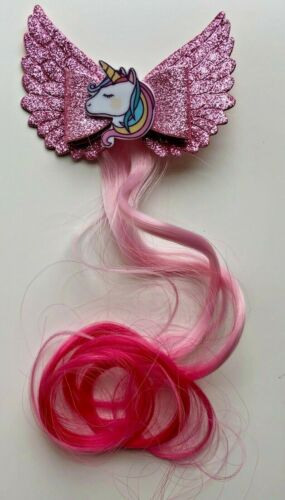 Unicorn /& Angel Hair Bows with Coloured Hair Extension with Clips