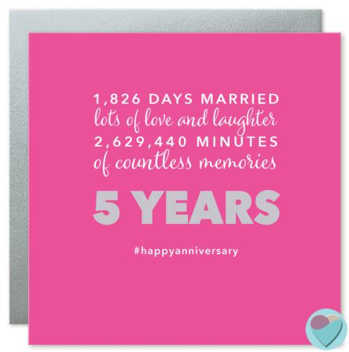 Anniversaire De Mariage Carte cinq ans cinquième 5th mari femme 1,826 jours marié