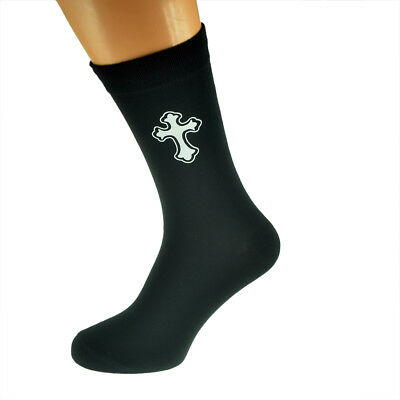Mens Ornate Christian Cross Mens Black Socks Uk 5-12 Jade Weiß
