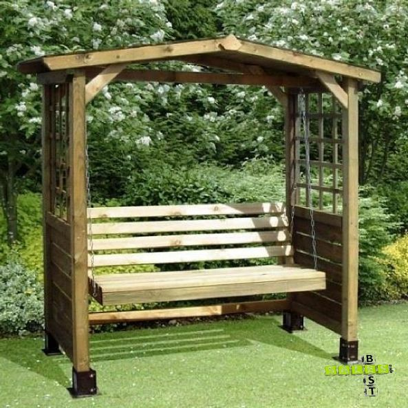 Garden Swing Bench Wooden Seat Wood Arbour Outdoor Furniture