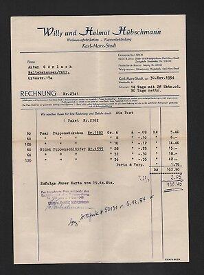 Karl-marx-stadt Rechnung 1954 Willy & Helmut Hübschmann Wirkwarenfabrikation