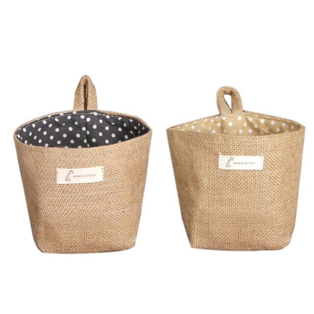Portable Storage Basket  Polka Dot Small Sack Cloth Hanging Non Woven Organizer
